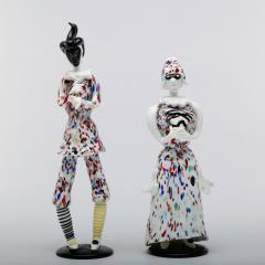 Fulvio Bianconi Fulvio Bianconi for Venini Murano Pair of Figurines Arlecchino and Arlecchina - 1060481