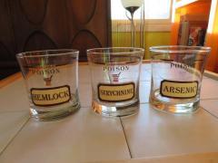 Fun Set of Six Name Your Poison Rocks Glasses Ice Bucket Mid Century Modern - 1629109