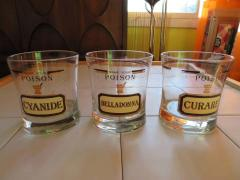 Fun Set of Six Name Your Poison Rocks Glasses Ice Bucket Mid Century Modern - 1629110