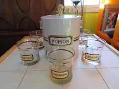 Fun Set of Six Name Your Poison Rocks Glasses Ice Bucket Mid Century Modern - 1629114