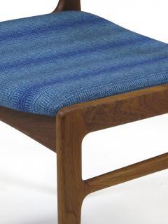 Funder Schmidt and Madsen Funder Schmidt and Madsen Funder Schmidt and Madsen Teak Dining Chairs in Blue Wool Set of 6 - 990159