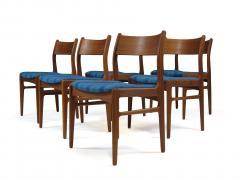 Funder Schmidt and Madsen Funder Schmidt and Madsen Funder Schmidt and Madsen Teak Dining Chairs in Blue Wool Set of 6 - 990161
