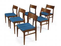 Funder Schmidt and Madsen Funder Schmidt and Madsen Funder Schmidt and Madsen Teak Dining Chairs in Blue Wool Set of 6 - 990162