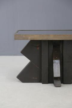 Futurist Coffee Table in Sculpted Wood and Brass 1920s - 1468035