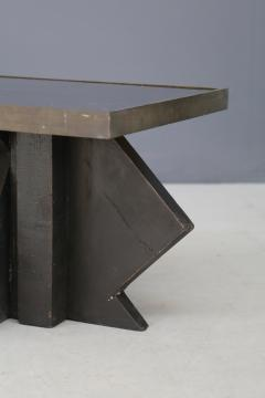 Futurist Coffee Table in Sculpted Wood and Brass 1920s - 1468037