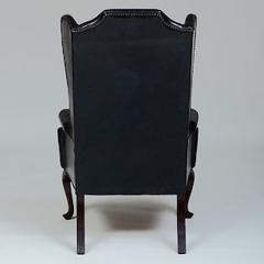 GEORGE II STYLE MAHOGANY AND BLACK LEATHER UPHOLSTERED WING CHAIR - 2011604