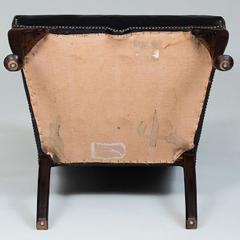 GEORGE II STYLE MAHOGANY AND BLACK LEATHER UPHOLSTERED WING CHAIR - 2011607