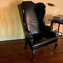 GEORGE II STYLE MAHOGANY AND BLACK LEATHER UPHOLSTERED WING CHAIR - 2011609