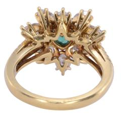 GIA Certified 0 90 Carat Emerald and Diamond 18K Gold Ring - 2043795