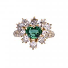 GIA Certified 0 90 Carat Emerald and Diamond 18K Gold Ring - 2052584