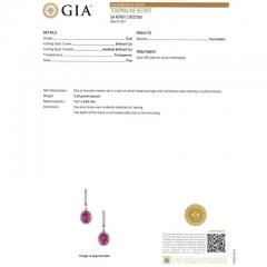 GIA Certified 2 58 Carat Pink Tourmaline Diamond Halo Gold Dangle Earrings - 391222