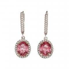 GIA Certified 2 58 Carat Pink Tourmaline Diamond Halo Gold Dangle Earrings - 392373