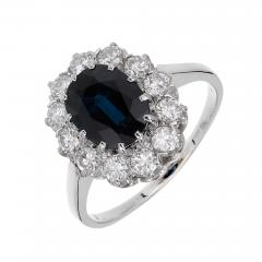 GIA Certified 3 07 Carat Blue Sapphire Diamond Halo Gold Engagement Ring - 389215