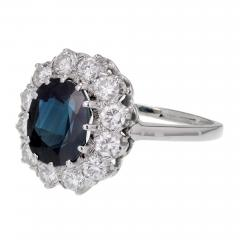 GIA Certified 3 07 Carat Blue Sapphire Diamond Halo Gold Engagement Ring - 389216