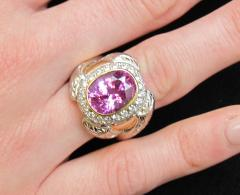 GIA Certified 7 08 Carat Pink Sapphire And Diamond Ring - 1100290