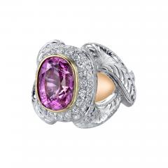 GIA Certified 7 08 Carat Pink Sapphire And Diamond Ring - 1101547