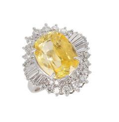 GIA Certified 8 18 Carat Oval No Heat Ceylon Yellow Sapphire and Diamond Ring - 1795332