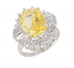 GIA Certified 8 18 Carat Oval No Heat Ceylon Yellow Sapphire and Diamond Ring - 1795335