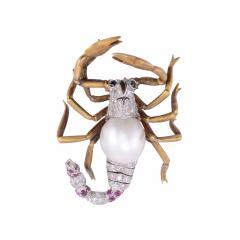GIA Certified Cultured Saltwater Pearl Diamond Scorpion Pin - 2010352