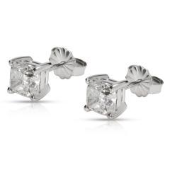 GIA Certified Cushion Diamond Stud Earring in 14K White Gold E VVS2 VS2 2 03 CTW - 1653837