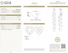 GIA Certified Heart Shaped Diamond Stud Earring 14KT Gold F I VVS2 SI1 4 01 CTW - 1658608
