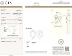 GIA Certified Pear Shape Fancy Intense Yellow VS2 Diamond Necklace 0 75 Ct - 1653833