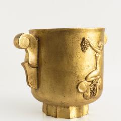 GILT SWEDISH ART DECO CAST IRON URN WITH HANDLES - 2038141