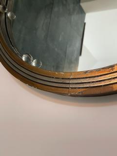 GLAMOROUS ROUND SILVERED GOLD WOOD ART DECO GLASS BALL MIRROR - 2122989