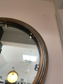 GLAMOROUS ROUND SILVERED GOLD WOOD ART DECO GLASS BALL MIRROR - 2122991