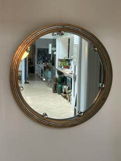 GLAMOROUS ROUND SILVERED GOLD WOOD ART DECO GLASS BALL MIRROR - 2122992