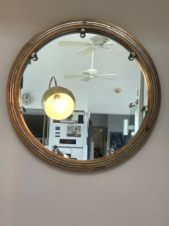 GLAMOROUS ROUND SILVERED GOLD WOOD ART DECO GLASS BALL MIRROR - 2122994