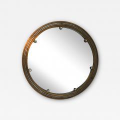 GLAMOROUS ROUND SILVERED GOLD WOOD ART DECO GLASS BALL MIRROR - 2125875