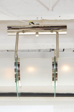 GLASS AND NICKEL HIGH ART DECO LIGHT FIXTURE - 1614187