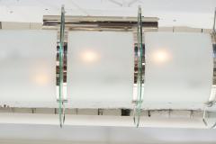 GLASS AND NICKEL HIGH ART DECO LIGHT FIXTURE - 1614193