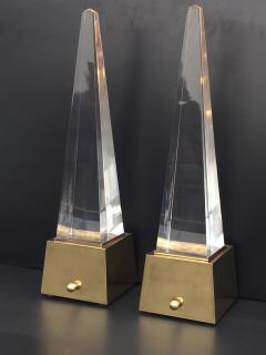 Gabriella Crespi Brass and Lucite Obelisk Lamps by Chapman - 476785