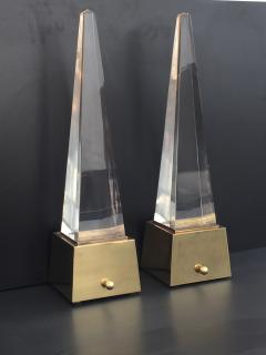 Gabriella Crespi Brass and Lucite Obelisk Lamps by Chapman - 476786