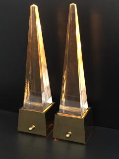 Gabriella Crespi Brass and Lucite Obelisk Lamps by Chapman - 476787