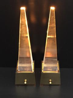 Gabriella Crespi Brass and Lucite Obelisk Lamps by Chapman - 476788