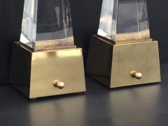 Gabriella Crespi Brass and Lucite Obelisk Lamps by Chapman - 476789