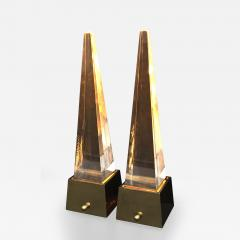 Gabriella Crespi Brass and Lucite Obelisk Lamps by Chapman - 477088