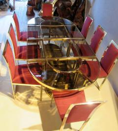 Gabriella Crespi Bronze and Glass Sectional Dining Table Gabriella Crespi Style Italy 1970s - 580757