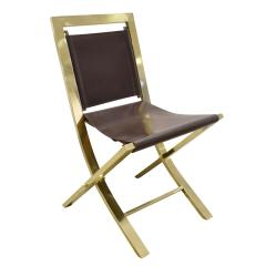 Gabriella Crespi Gabriella Crespi Pair of Chairs in Polished Brass and Leather 1970s Signed  - 1683079