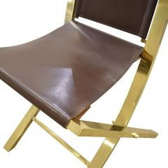 Gabriella Crespi Gabriella Crespi Pair of Chairs in Polished Brass and Leather 1970s Signed  - 1683082