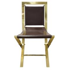 Gabriella Crespi Gabriella Crespi Pair of Chairs in Polished Brass and Leather 1970s Signed  - 1683087