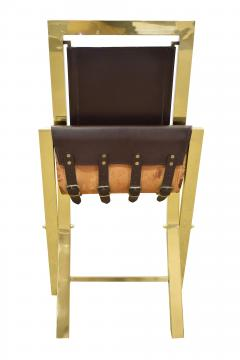 Gabriella Crespi Gabriella Crespi Pair of Chairs in Polished Brass and Leather 1970s Signed  - 1683101