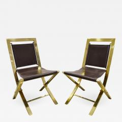 Gabriella Crespi Gabriella Crespi Pair of Chairs in Polished Brass and Leather 1970s Signed  - 1685075
