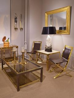 Gabriella Crespi Gabriella Crespi Pair of Chairs in Polished Brass and Leather 1970s Signed  - 1696740