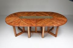 Gabriella Crespi Gabriella Crespi Style Adjustable Dining Table in Rattan 1970s - 1248744