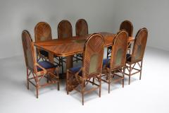 Gabriella Crespi Gabriella Crespi Style Rectangular Dining Table in Rattan 1970s - 1248760