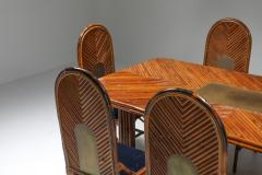 Gabriella Crespi Gabriella Crespi Style Rectangular Dining Table in Rattan 1970s - 1248762